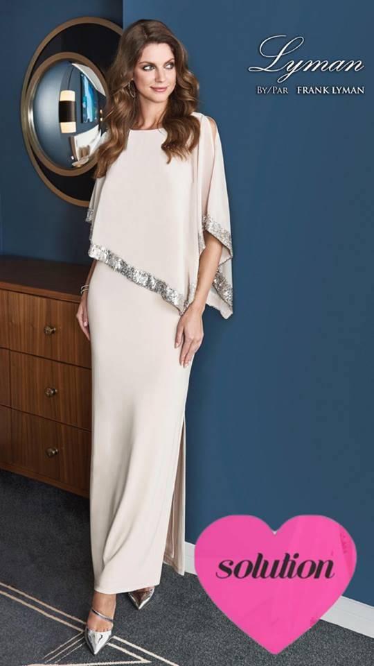 00bb5db6001d9 robe longue de soirée frank lyman amincissante ajourée sur l'épaule ...